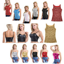 Summer Women Sequins Crop Top Sleeveless T Shirt Blouse Shining Tank Tops Cami