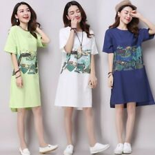 New Fashion Round Neck Short Sleeve Printed Loose Women Dress