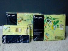 VINTAGE PERCALE FULL SIZE BED PILLOW CASES, FITTED & FLAT SHEET SET~YELLOW~NIP👀