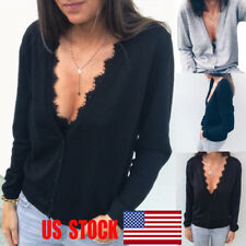 Women Deep V Neck Sweater Casual Long Sleeve Lace Top Pullover Blouse T Shirt US