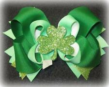 Shamrock Glitter Boutique Stacked Hair Bow Baby St. Patricks Day Bows Hairbows