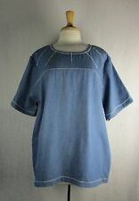 Zig Zag 100% Cotton Denim Tunic in 4 Washes S M L XL  Blue Fish Red Moon
