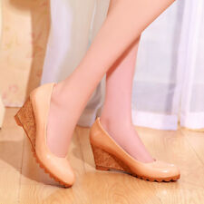 NEW Womens Faux Leather High Heels Shoes Wedge Bowknot Pumps AU Size YD4484