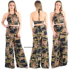 New ladies womens Chain Print Halter Neck Crop Top Palazzo Trouser Co-Ord pants