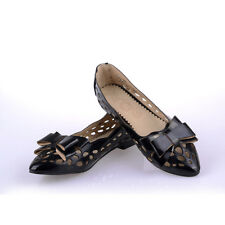 NEW Womens Ladies Flat Heels Shoes Block Hollow Out Bowknot Pumps AU Size YD4815