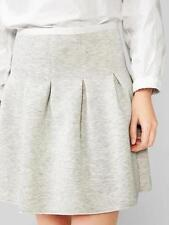 Gap NWT Pale Heather Gray Stretch Knit Flare Pleated Scuba Skirt S 4 6 $55