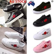 AU Women Embroidered Floral Running Sneakers Shoes Lace Up Flats Casual Trainers