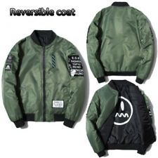 Mens Reversible Zipper Coat Jacket Outwear Flight Air Bomber Army Sweatshirt