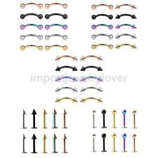 10pcs Threaded Curved Spike Barbell Eyebrow Belly Lip Tragus Ring Body Piercing