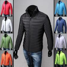 Mens Lightweight Down Zip Coat Warm Stand Collar Jacket Casual Overcoat Parka