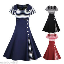 50'S Vintage Style Swing Pinup Retro Housewife Casual Rockabilly Party Dress