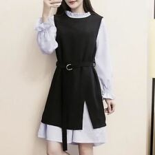 Winter Wear Long Sleeve Striped Patchwork Pattern Belted 2pcs Dress for Women