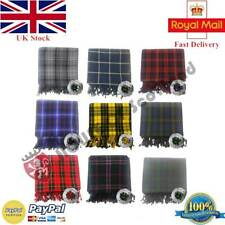 Scottish Piper Kilt Fly Plaid 106''X 54'' with Stone Brooches in Various Tartans