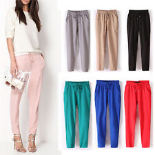 IT- Women Casual Chffion Pants Solid Color Elastic Waist Full Length Trousers Fa