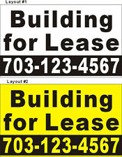 3ftX5ft Custom Printed Building for Lease Banner Sign with Your Phone Number