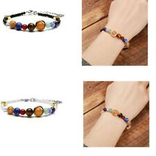 Galaxy Solar System Planets Stone Beads Cut Glass Unisex Adjustable Bracelets