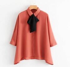 Women Chiffon Fabric Short Sleeve Bow Tie-Neck Casual Loose Top Blouse