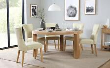 Brighton & Bewley Round Oak Dining Table and 4 6 Leather Chairs Set (Ivory)