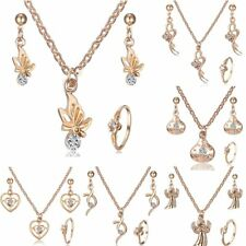 Butterfly Crystal Plated Gold Necklace Earrings Ring Jewelry Set Women Wedding