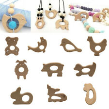 Cute Safe Natural Wooden Animal Shape Ring Baby Teether Teething Toy Shower New