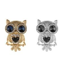 Silver/Gold Plated Full Inlay Crystal Cute Black Eyed Owl Brooch and Pin