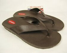 NWT Men's Okabashi Surf Brown Comfort Sandals Shoes Flip Flops Size ML