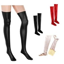 Spandex Latex Rubber Stockings Pantyhose lady Wet Look Thigh High Stay Up Tights