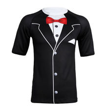 Mens Short Sleeves Tuxedo Formal Suit Party Bowtie Funny Top T-Shirt Costume