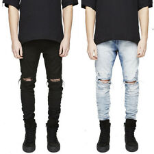 US SALE Mens Straight Leg Stretch Skinny Pants Ripped Denim Jeans Hole Trousers