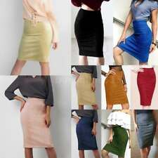 New Suede High Waisted Back Split Bodycon Midi Pencil Stretch Party Skirt G5N2