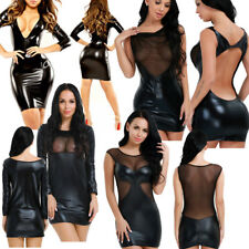 Women's Wet Look Bodycon Dress Evening Party Cocktail Clubwear Short Mini Dress