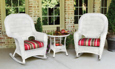 3Pc Outdoor Patio Wicker Rocker Round Table Set Cushion Color Options Porch Deck
