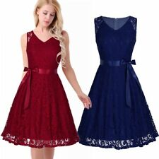 Womens V Neck Sleeveless Lace Swing Dress Bridesmaids Evening Party Gown Dresses