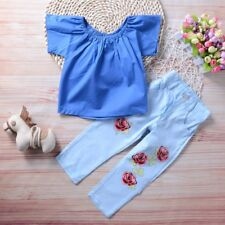 2PCS Toddler Kids Baby Girls Outfits Clothes T-shirt Tops Flower Jeans Pant Sets