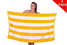 Oversized Beach Towel, Cabana Striped Velour Towel,100% Cotton,  35 X 60 Inches