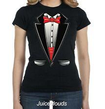 Tuxedo Fitted Shirt Red Tuxedo T-Shirt Tux Suit Bowtie Wedding Prom JUNIORS Tee