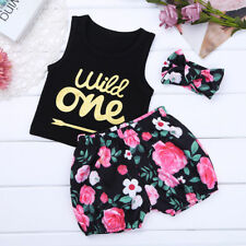 3Pcs Newborn Infant Kids Baby Girls T-shirt Tops+Pants+Headband Outfit Clothes