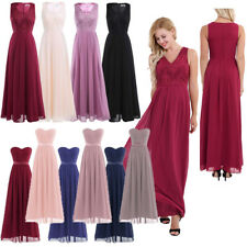 Womens Long Chiffon Evening Formal Party Cocktail Dress Bridesmaid Prom Gown