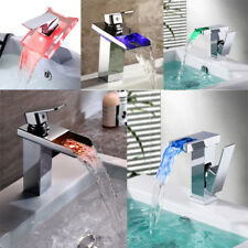 LED Color Changing Waterfall Bathroom Restroom Sink Glass Basin Faucet Mixer Tap