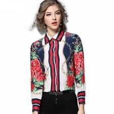 Turn Down Collar Floral Pattern Peter Pan Collar Casual Blouse For Women