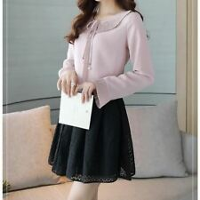 Spring Fashion Peter Pan Collar Patchwork Chiffon Blouse For Women