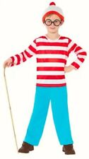 Childs Boys Wheres Wally fancy dress costume outfit Top Trousers Glasses Hat