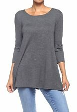 3/4 Sleeve Loose Fit Long Tunic Tops Flowy Soft Regular and Plus Size Jersey