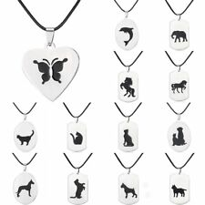 Aniaml Butterfly Cat Dog Tag Stainless Steel Pendant Leather Necklace Jewelry