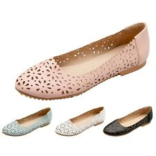 Faux Leather Ballet Flats plus size Comfy Shoes Ladies Lace Ballerinas AU 2-13