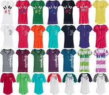 AEROPOSTALE WOMENS HENLEY T-SHIRT AERO 1987 EMBROIDERED BUTTONS NWT TOP TEE