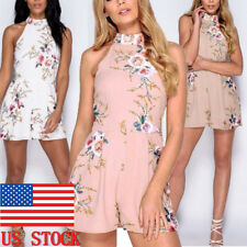 US Womens Boho Floral Halter Neck Sleeveless Jumpsuit Short Pant Summer Playsuit