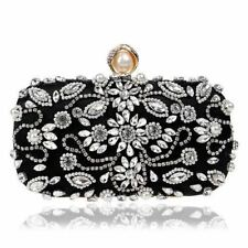 Women Beading Rhinestones Decorated Embroidery Pattern Evening Clutch With Chain