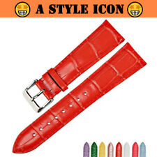 HEROES Glossy Red Genuine Leather Watch Strap Band 12mm to 22mm 8-Colors
