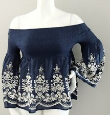 Flying Tomato Embroidered Floral Off the Shoulder Smocked Top Blouse Navy S M L